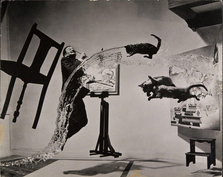 iconic photo of Salvador Dali called Dali Atomicus taken by Philippe Halsman