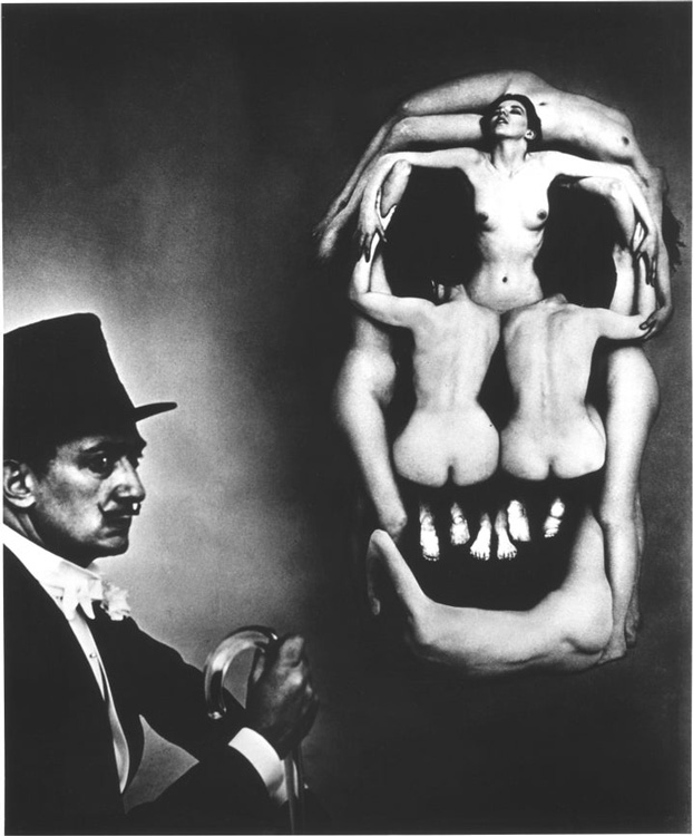 Voluptus Mors, Halsman's famous portrait of Dali next to seven nude female subjects positioned to look like a human skull