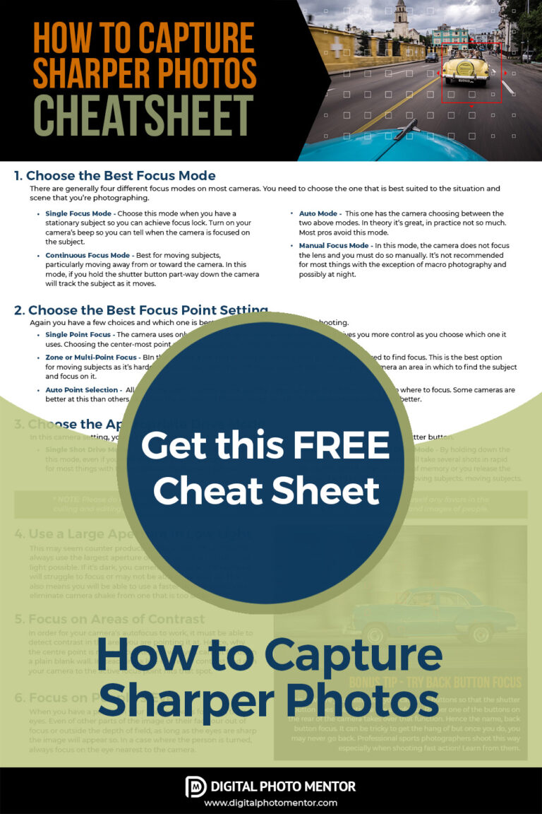 how to get sharper photos cheatsheet