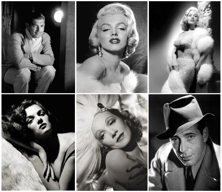 a collection of George Hurrell's iconic black and white Hollywood portrait photographs