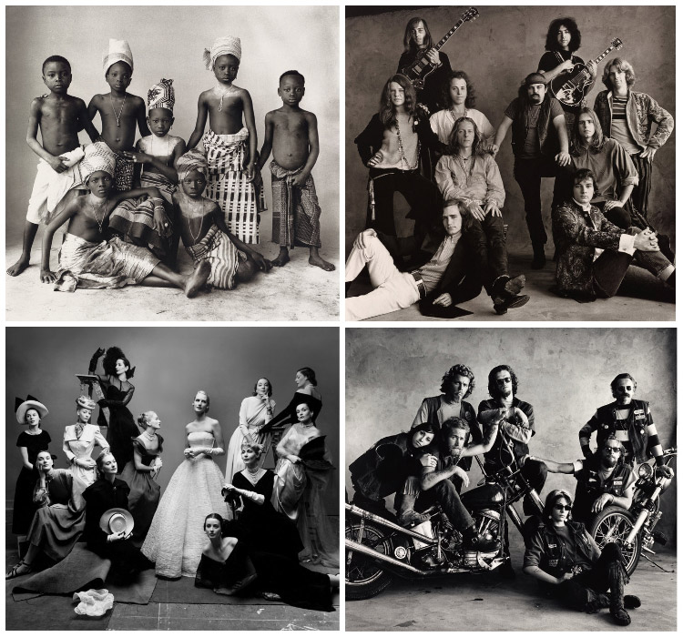 collage of historical group portrait photos including fashion models, bikers, musicians and young indigenous tribe members positioned in the same manner