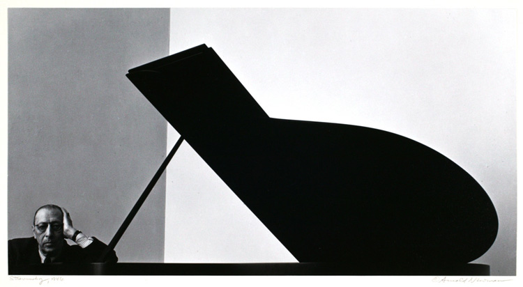 Final cropped version of Newman's photo of Igor Stravinsky with grand piano