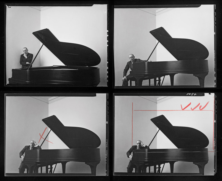 a contact sheet showing Arnold Newman's portrait photos of composer Igor Stravinsky showing how he wanted to crop the final photo