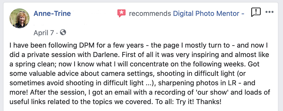 photography tutoring testimonial of Anne-Trine