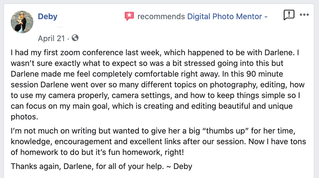 photography tutoring testimonial by Deby