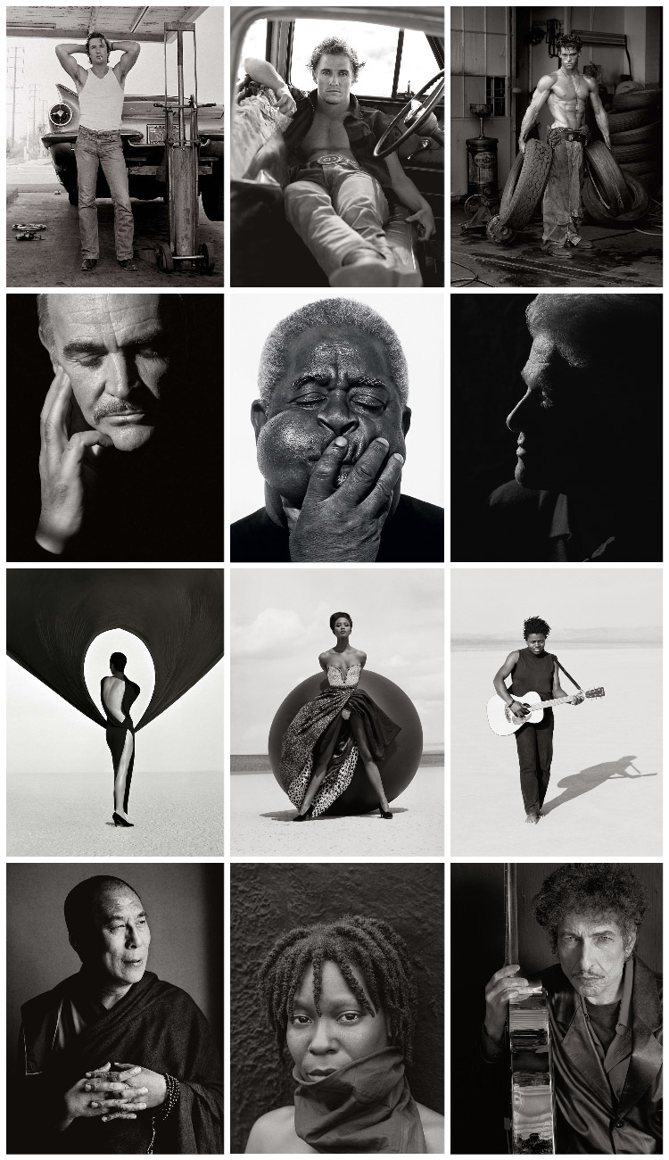 a collage of famous actors, musicians and celebrities taken by Herb Ritts