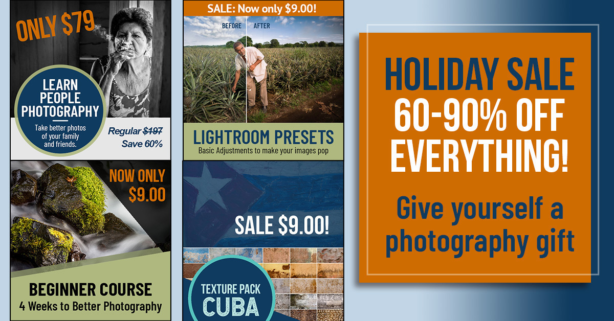 photography courses and presets on sale for the holidays