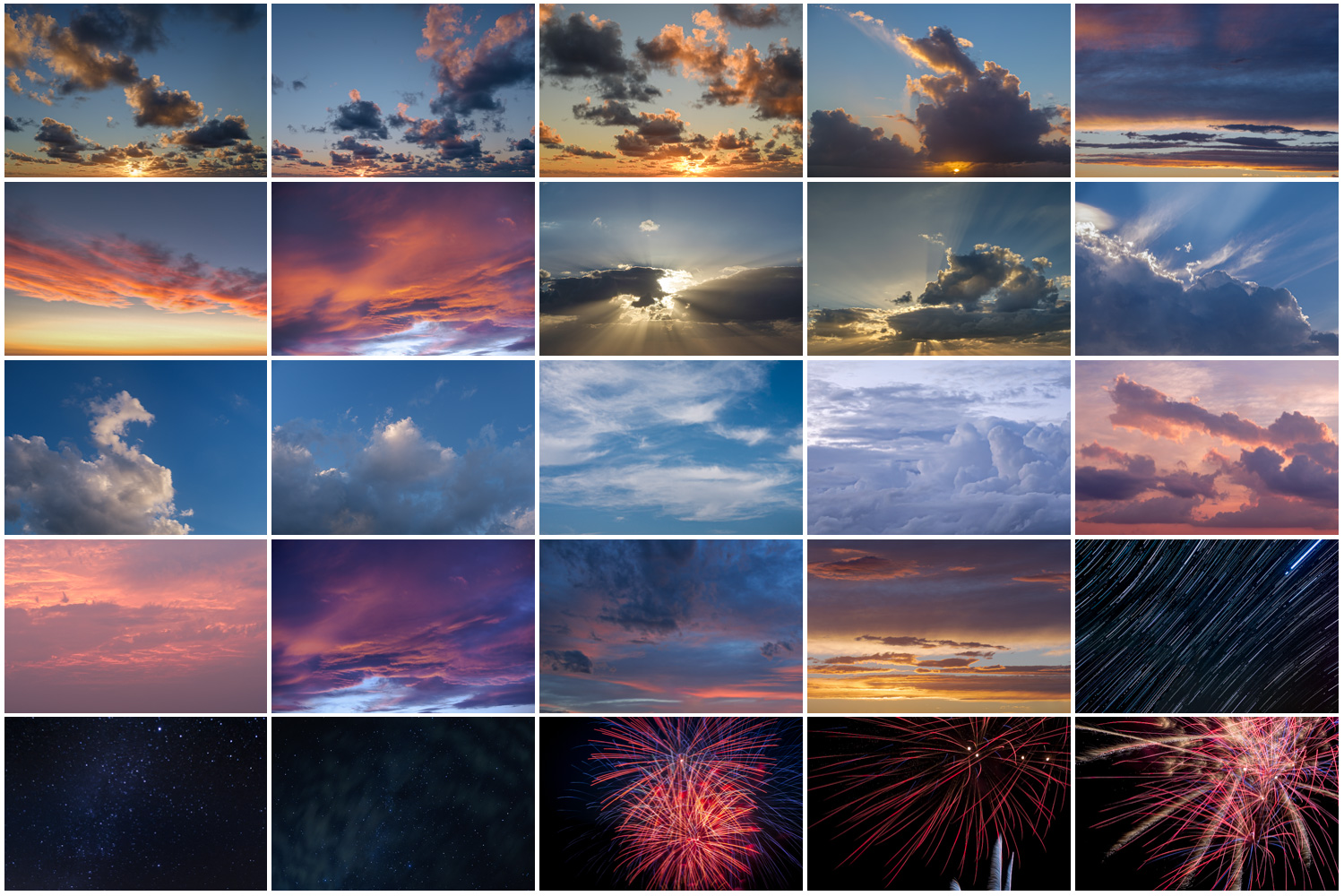 sky replacement pack contact sheet showing all photos and images included with your purchase