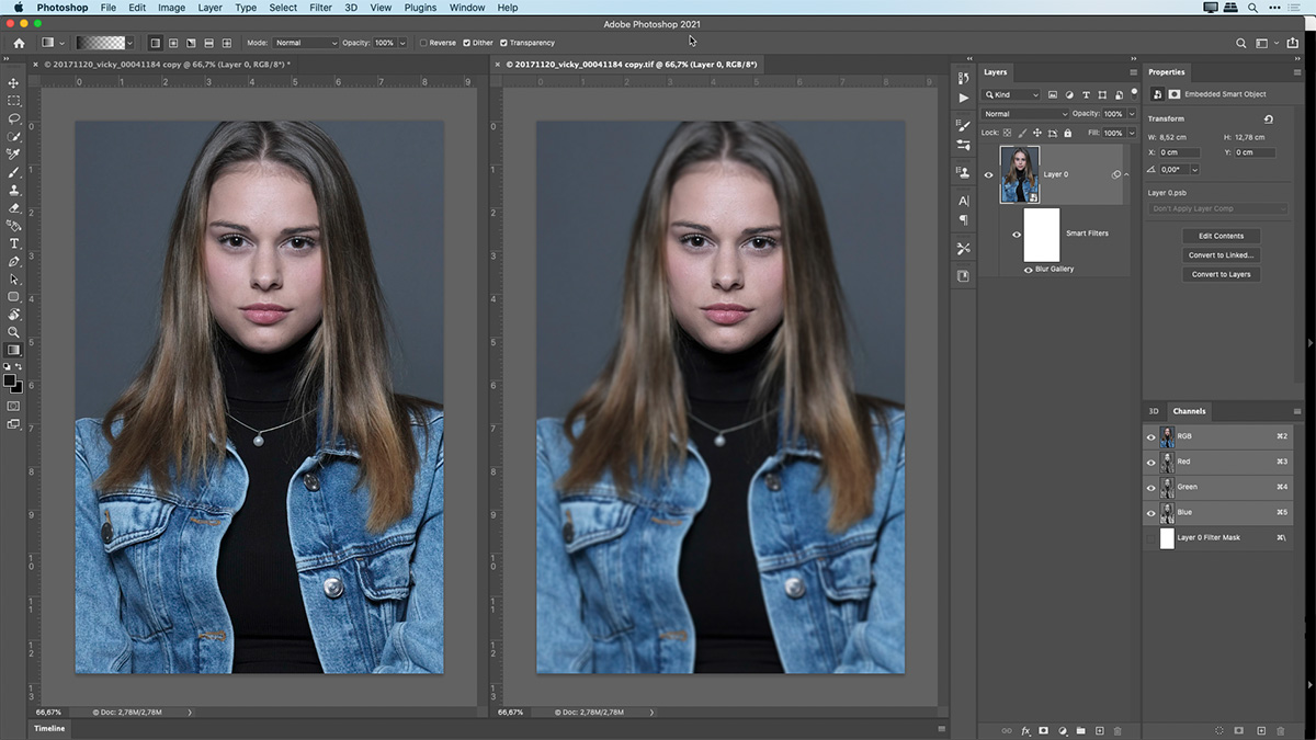 photoshop technique showing a simulation of shallow depth of field