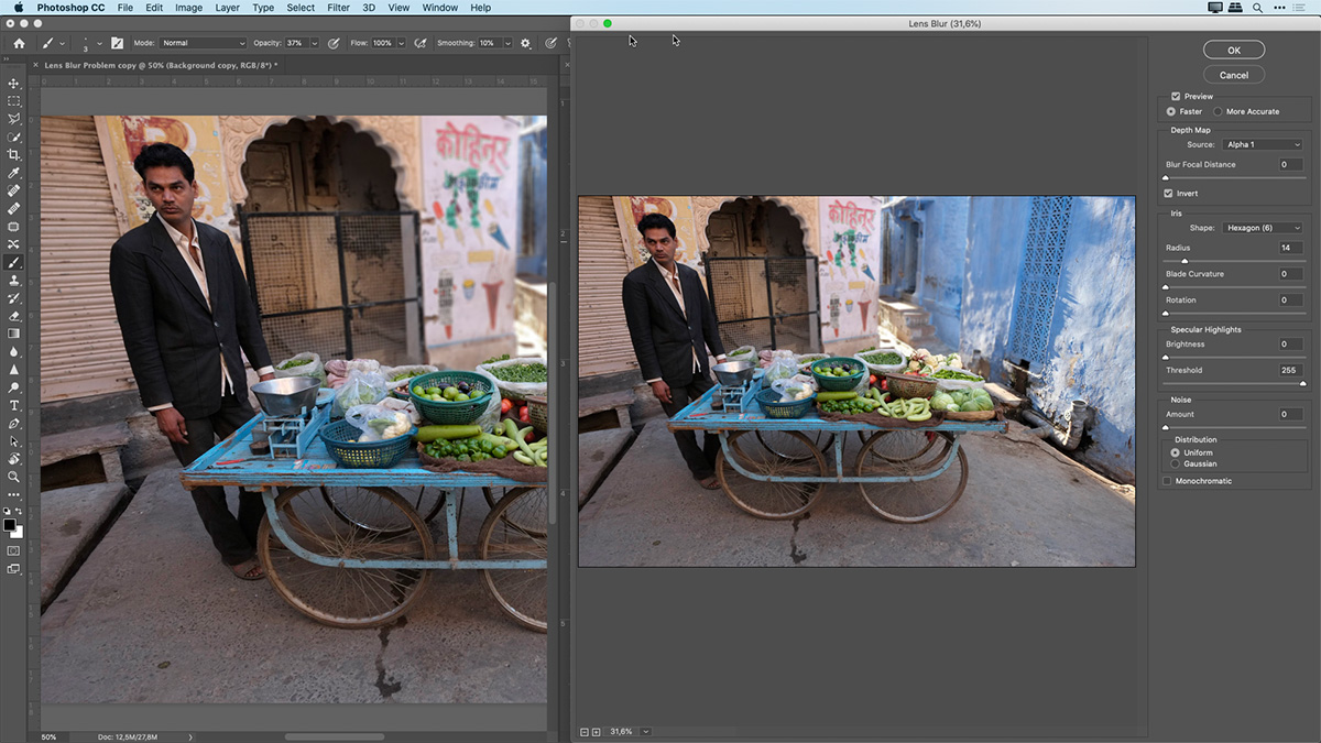 simulating a shallow depth of field in Photoshop