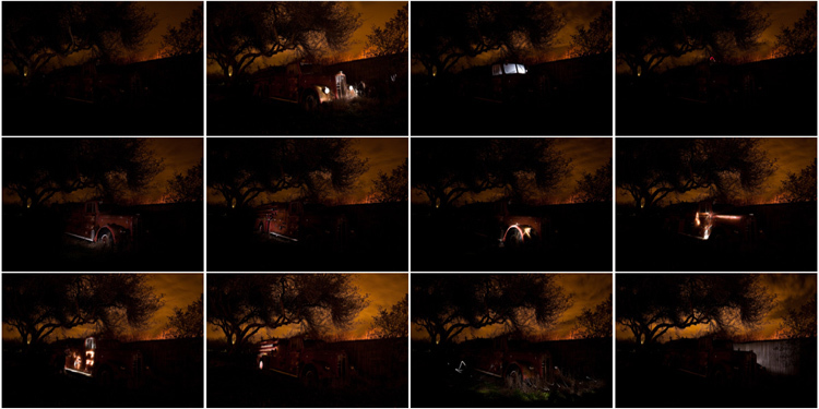contact sheet showing 20 light painted images of a classic fire truck used in a light painted final image