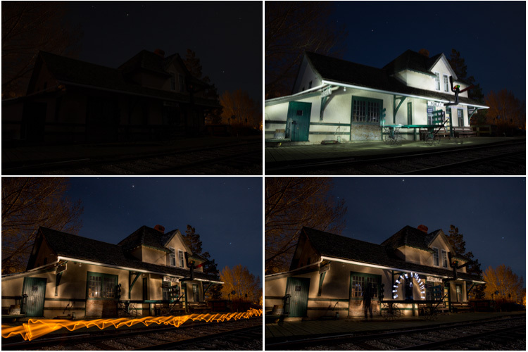 Contact sheet light painted historic train station