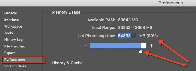 photoshop ram performance settings
