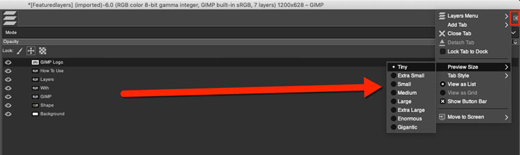GIMP layer preview size