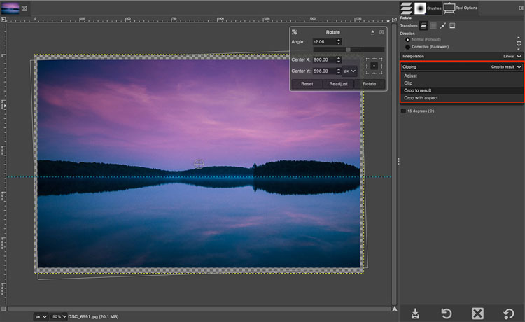 GIMP rotate layers dialog box