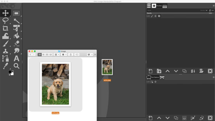 open an image in GIMP by dragging photo onto interface