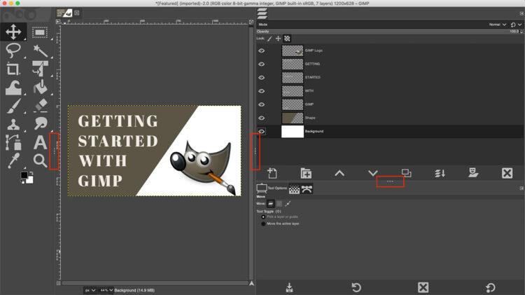 gimp 2 dashed lines to resize panels screenshot
