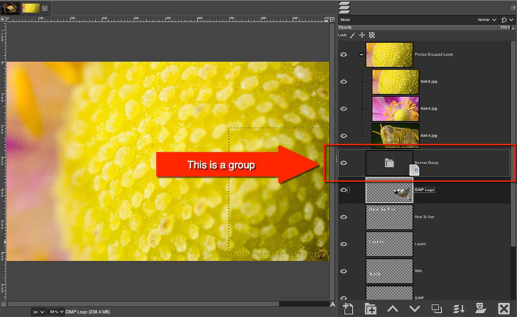 how to group layers in GIMP