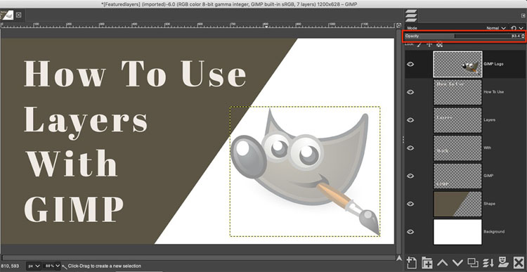 how to adjust opacity in GIMP
