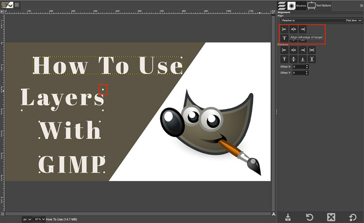 How to align layers in GIMP