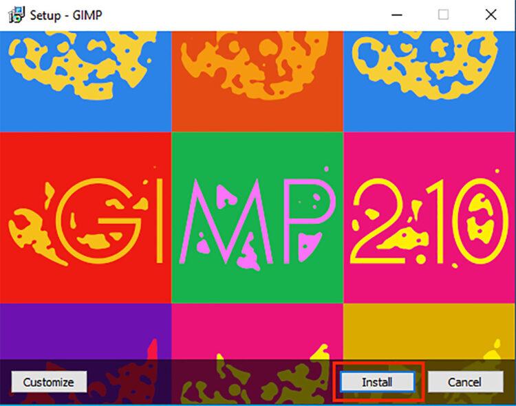 Windows splash screen for GIMP setup when installing