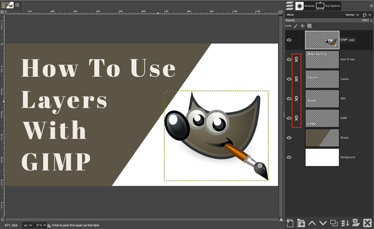 how to link layers in GIMP