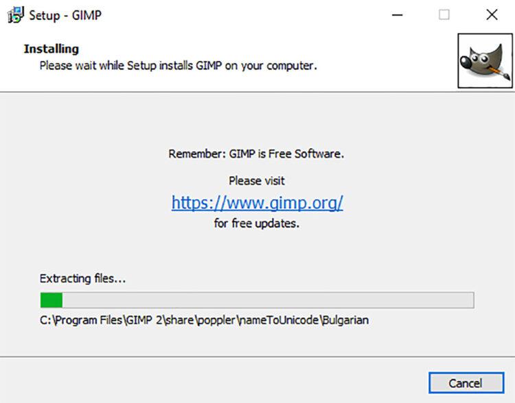 progress meter for installing GIMP on windows