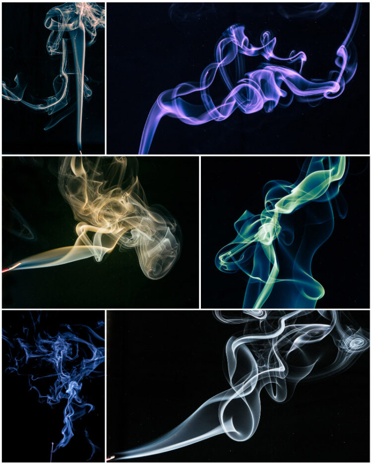 a collage of smoke photography