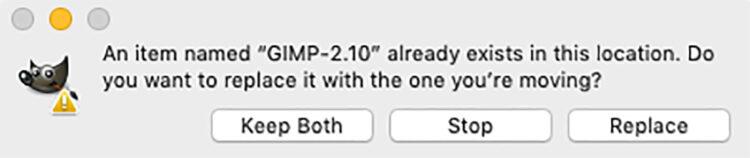 alert screen when updating GIMP on a mac
