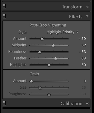 Lightroom effect post crop vignette settings